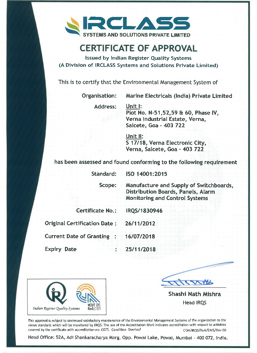 Compliance Certificates Marine Electricals