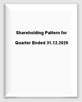 Shareholding Pattern for Quarter Ended 31.12.2020